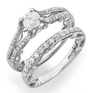 14k White Gold Round Diamond Ladies Bridal Ring Semi Mount