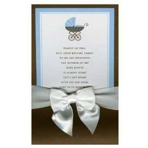 In the Baby Carriage Blue with White Bow Pocket