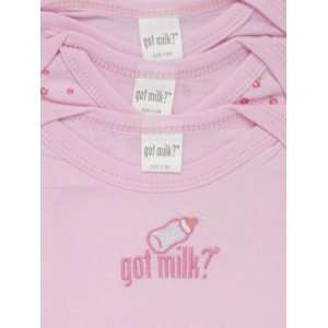 GOT MILK Baby Girl Pink 3 Piece Cotton Bodysuit Set with Bottle
