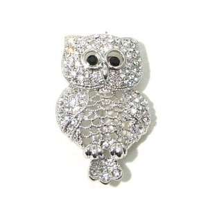 Black Austrian Rhinestone Owl Bird Silver Plated Brooch Pin Jewelry