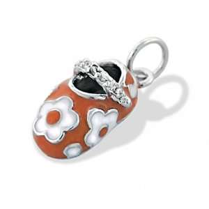 Gifts Bling Jewelry Orange Enamel Baby Shoe with Flower Charm Pendant