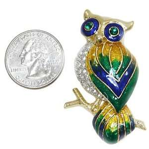 Gold Plated with Rhinestones Owl Brooch Pin Jewelry