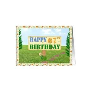 Happy 67th Birthday Sign on Footpath Card Toys & Games