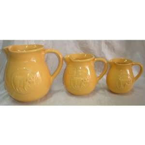 CERAMIC MEDA PIG CAN YELLOW MEDIUM PITCHER