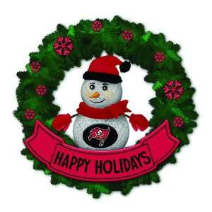 Buccaneers Lighted Snowman Artificial Christmas Wreath