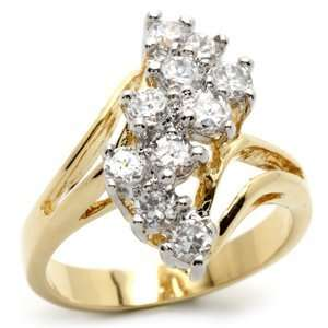GOLD CZ RING   Two Tone Wave Style Cluster CZ Ring Jewelry