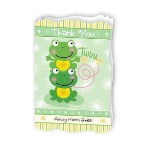 Twin Froggy Frogs   Personalized Baby Thank You Cards With