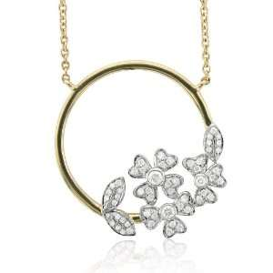 14k Two Tone Gold Circle Flower Diamond Pendant Necklace (GH, I1 I2, 0