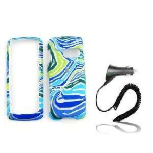 PRINT DESIGN CELL PHONE CASE BLUE/GREEN + CAR CHARGER Electronics