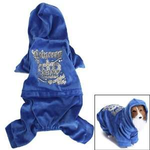 Pet Dog Hoodie Autumn Coat Velour Jumpsuit Clothes Sapphire (XL) Pet