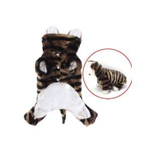 Pet Dog Tiger Print Costume Hoodie Hooded Autumn Winter Coat