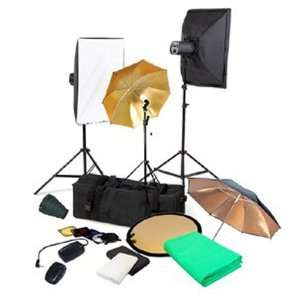 Complete Portrait Monolight Flash Lighting Kit   3 Studio Flash