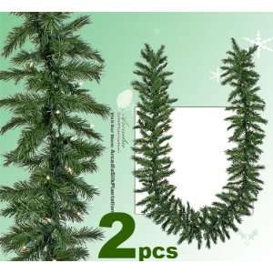 TWO Pre lit 9 Artificial Pine Garlands with Clear Lights