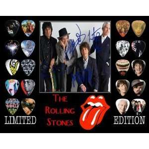 Rolling Stones Framed 20 Guitar Pick Set Platinum Musical