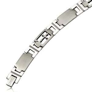 Mens stainless steel cross & link bracelet Jewelry