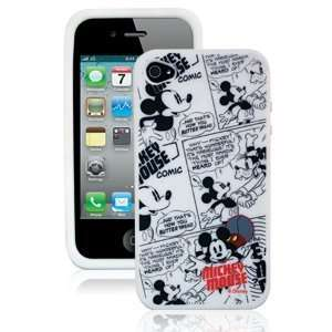 Silicone Skin for iPhone 4, Mickey Mouse Comic White Electronics