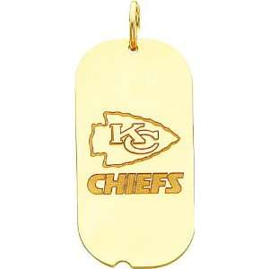 14K Gold NFL Kansas City Chiefs Logo Dog Tag Charm Sports
