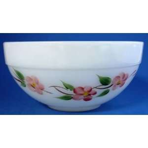 Fire King Oven Glass Pink Floral White Opaque Bowl