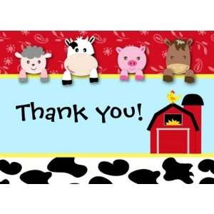 Barnyard Animals Thank you note cards birthday Health