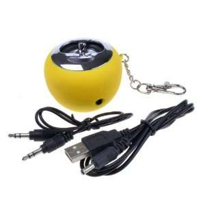 Yellow Apple Shape USB Mini Speaker For  MP4 PC Laptop