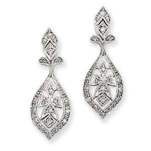 14k White Gold Vintage Diamond Dangle Earrings Diamond quality AA (I1