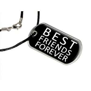 Best Friends Forever   Military Dog Tag Black Satin Cord
