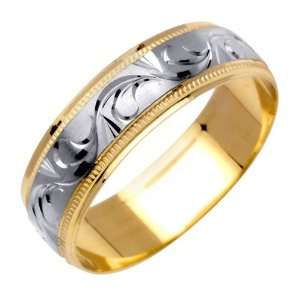 Paisley Swirl Fancy Mens 6 mm 14K Two Tone Gold Wedding