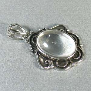 Sterling Silver Plated pendant   Beautiful Transparent Crystal Stone
