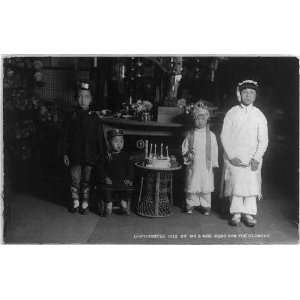 BIrthday party,Asian children,Birthday cake,c1913,CA