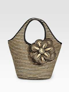 Kate Spade New York   Striped Straw Tote
