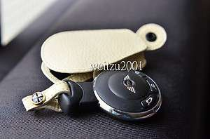 R55 R56 R60 Leather Mini cooper Key Fob countryman WHT