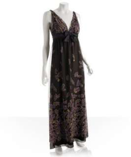Vera Wang Lavender Label brown silk chiffon leaves gown   up