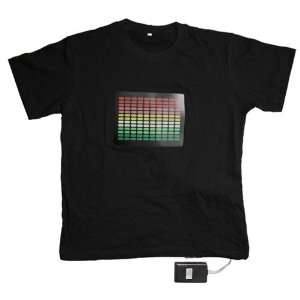 Skque Sound Activated LED Light Up T Shirt, Equalizer Bars